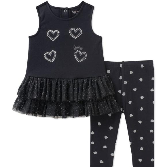 Juicy Couture Black Heart Ruffle Tank Leggings Set